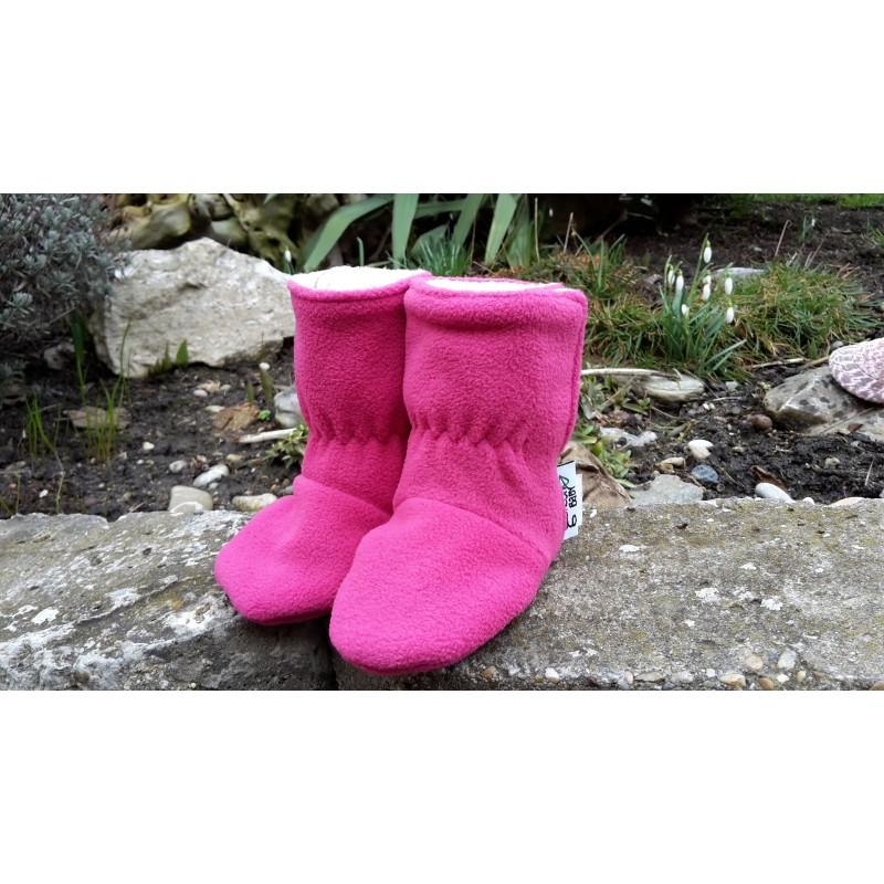 Fleesové čižmičky ružové