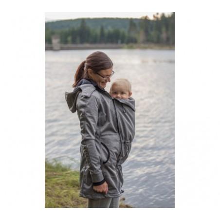 Softshellový kabát sivý melír