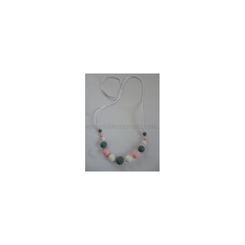 Náhrdelník korálky sivá biela ružová