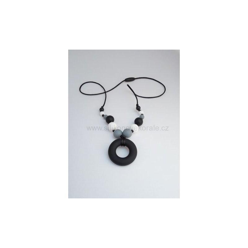 Náhrdelník donut čierna sivá biela