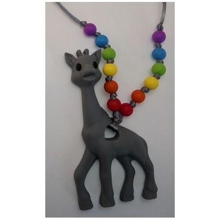 Nahrdelník žirafa sivá s dúhovými koralkami