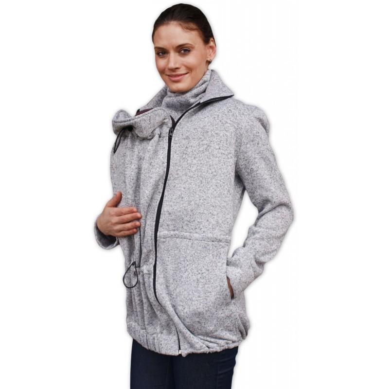 Radka - sveter na predné/zadné nosenie sivý melír