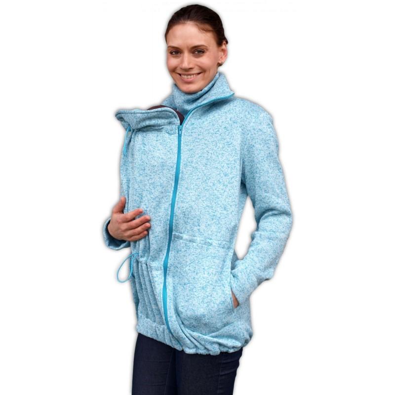 Radka - sveter na predné/zadné nosenie tyrkysový melír