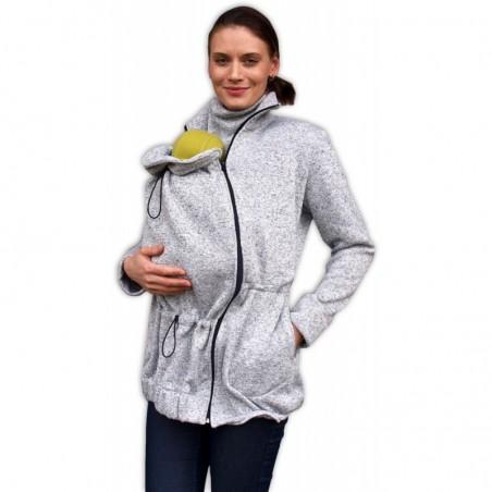 Renáta - sveter na predné nosenie sivý melír
