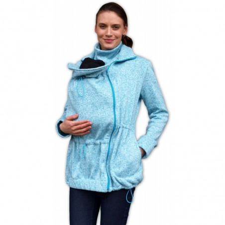 Renáta - sveter na predné nosenie tyrkysový melír