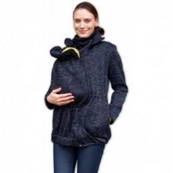 Renáta - sveter na predné nosenie čierny melír