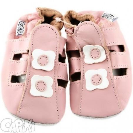 Kožené capačky - Sandálky ružové