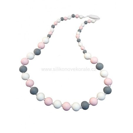 Náhrdelnik korálky biela ružová sivá
