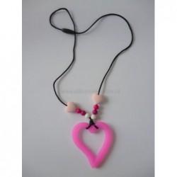 Náhrdelnik srdce ružové
