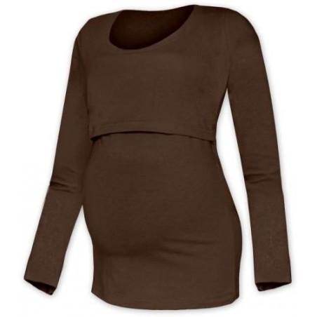 Kateřina - tričko na dojčenie, dlhé rukávy, čokoládová hnedá