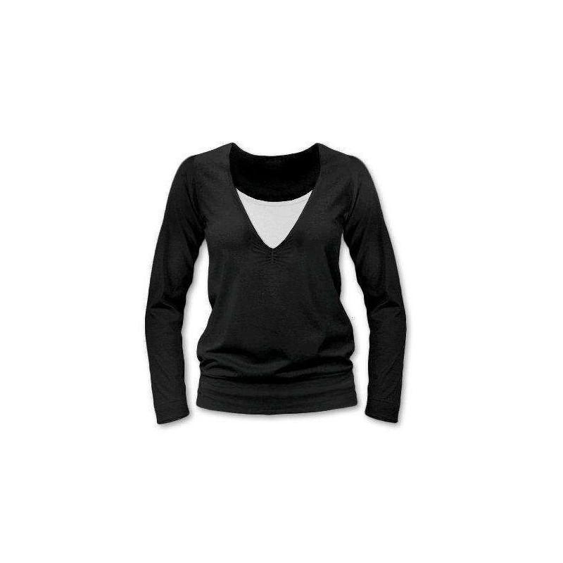 Karla - tričko na dojčenie, dlhé rukávy, čierna