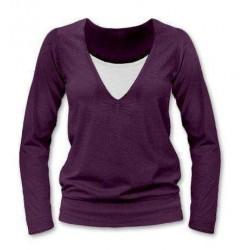 Karla - tričko na dojčenie, dlhé rukávy, slivková