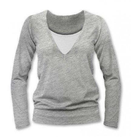 Karla - tričko na dojčenie, dlhé rukávy, sivý melír