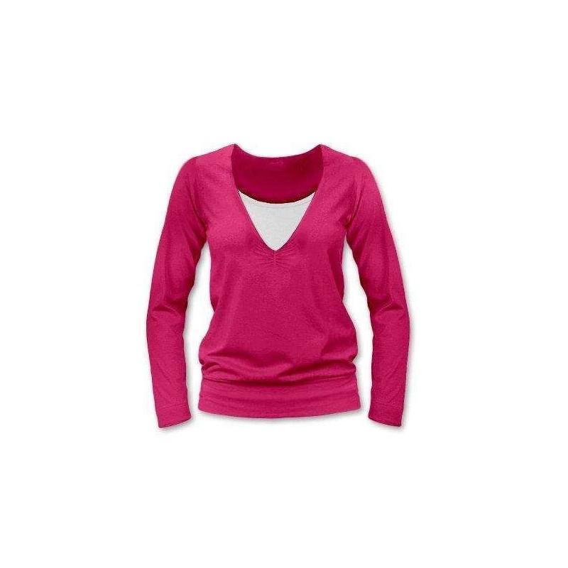 Karla - tričko na dojčenie, dlhé rukávy, tmavo ružová
