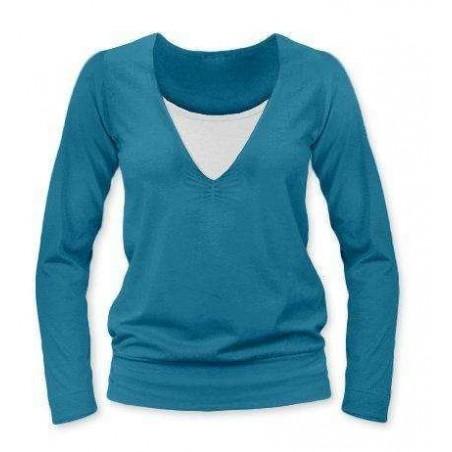 Karla - tričko na dojčenie, dlhé rukávy, petrolejová