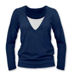 Karla - tričko na dojčenie, dlhé rukávy, tmavomodrá jeans