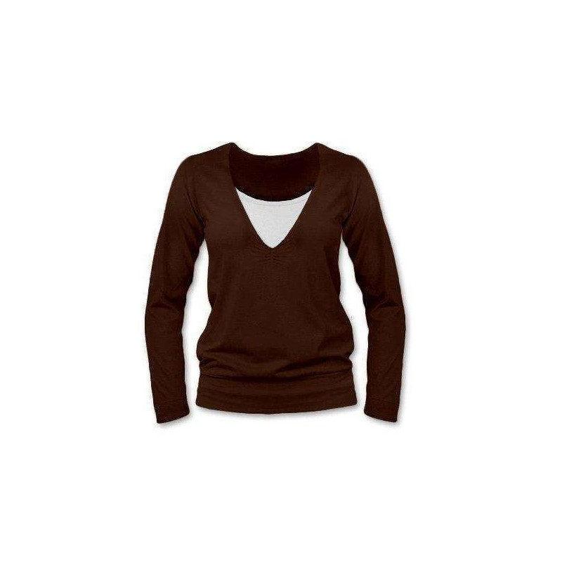 Karla - tričko na dojčenie, dlhé rukávy, čokoládová hnedá