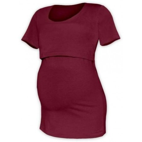 Kateřina - tričko na dojčenie, krátke rukávy, bordová