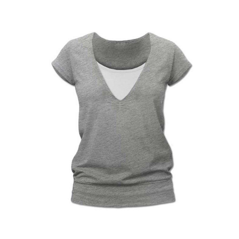 Karla - tričko na dojčenie, krátke rukávy, sivý melír