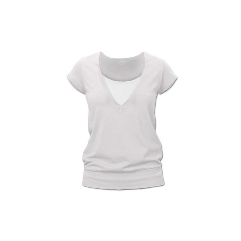 Karla - tričko na dojčenie, krátke rukávy, smotanová