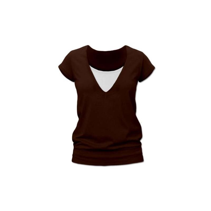 Karla - tričko na dojčenie, krátke rukávy, čokoládová hnedá