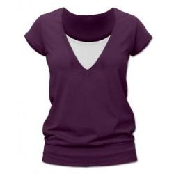 Karla - tričko na dojčenie, krátke rukávy, slivková