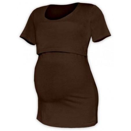 Kateřina - tričko na dojčenie, krátke rukávy, čokoládová hnedá