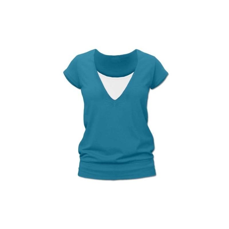Karla - tričko na dojčenie, krátke rukávy, petrolejová