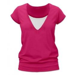 Karla - tričko na dojčenie, krátke rukávy, tmavo ružová