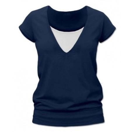 Karla - tričko na dojčenie, krátke rukávy, tmavomodrá jeans