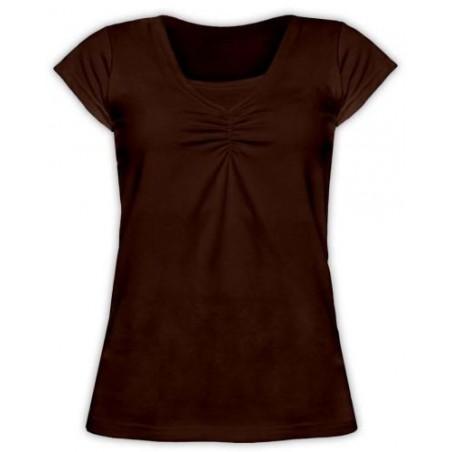 Klaudia - tričko na dojčenie, krátky rukáv, čokoládová hnedá