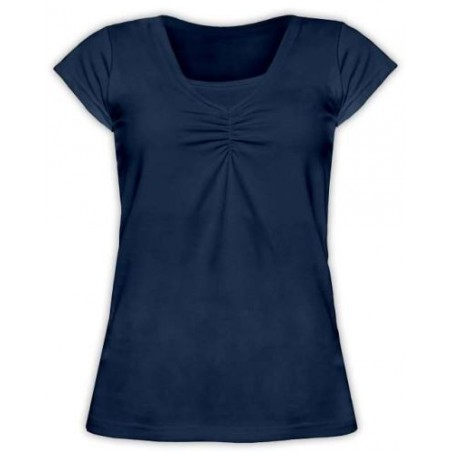 Klaudia - tričko na dojčenie, krátky rukáv, tmavo modrá (jeans)