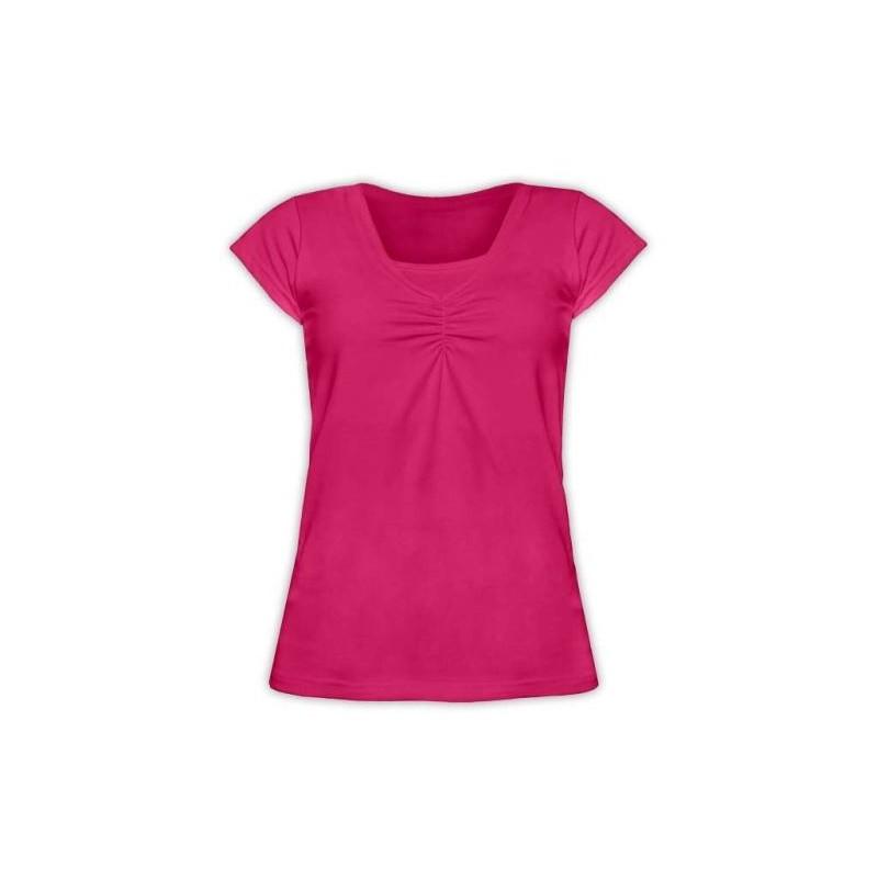 Klaudia - tričko na dojčenie, krátky rukáv, sýta ružová