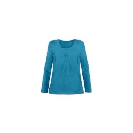 Klaudia - tričko na dojčenie, dlhý rukáv, petrolejová