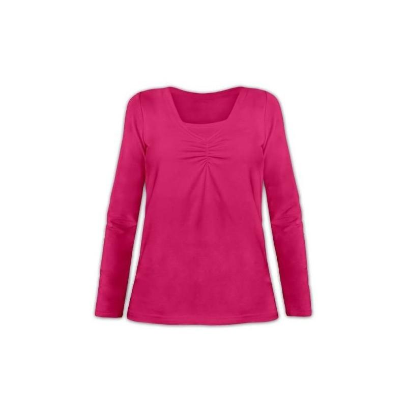 Klaudia - tričko na dojčenie, dlhý rukáv, sýta ružová