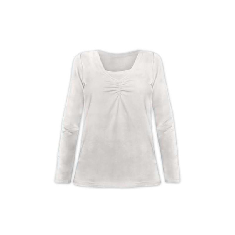 Klaudia - tričko na dojčenie, dlhý rukáv, smotanová