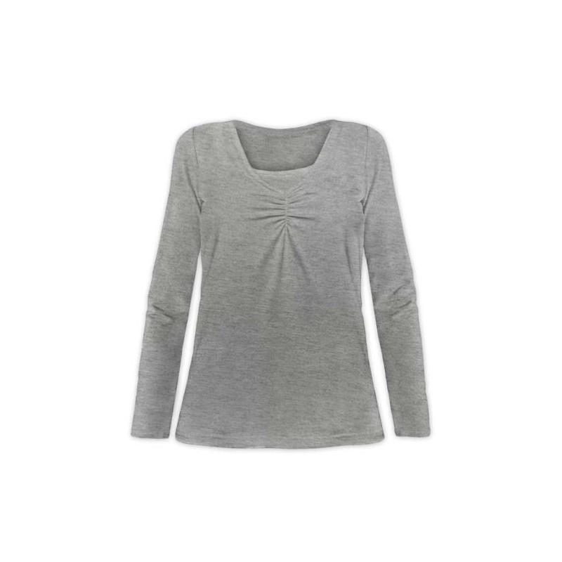 Klaudia - tričko na dojčenie, dlhý rukáv, sivý melír