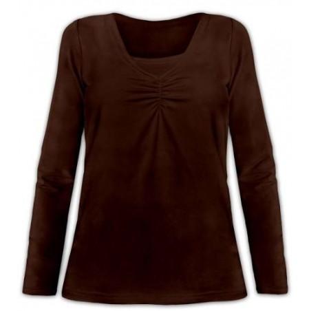 Klaudia - tričko na dojčenie, dlhý rukáv, čokoládová