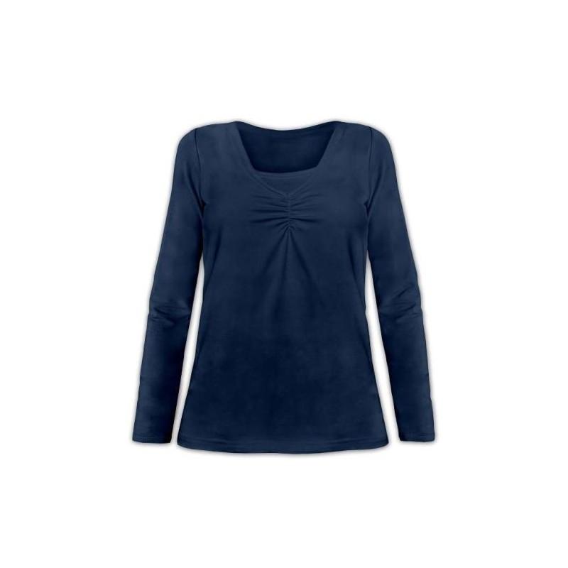 Klaudia - tričko na dojčenie, dlhý rukáv, tmavo modrá jeans