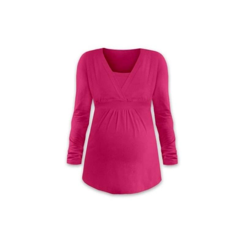 Anička - tričko na dojčenie, dlhé rukávy, sýta ružová