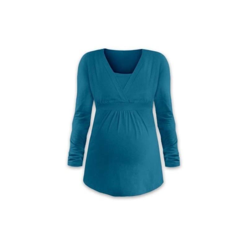 Anička - tričko na dojčenie, dlhé rukávy, petrolejová