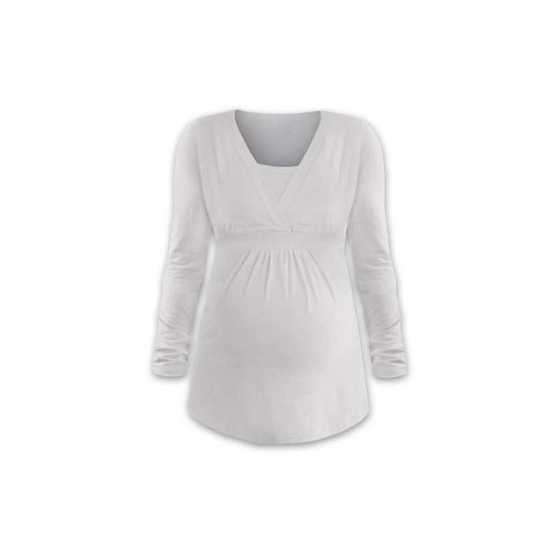 Anička - tričko na dojčenie, dlhé rukávy, smotanová