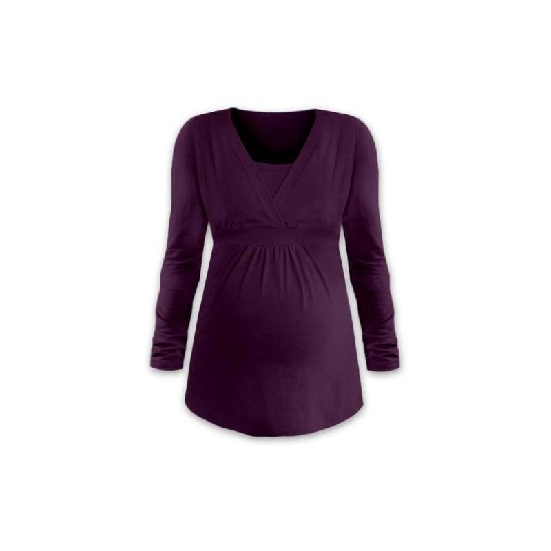 Anička - tričko na dojčenie, dlhé rukávy, slivková