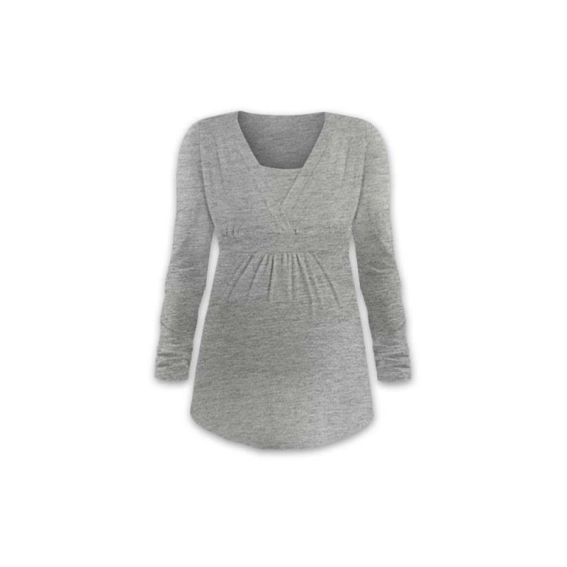 Anička - tričko na dojčenie, dlhé rukávy, sivá
