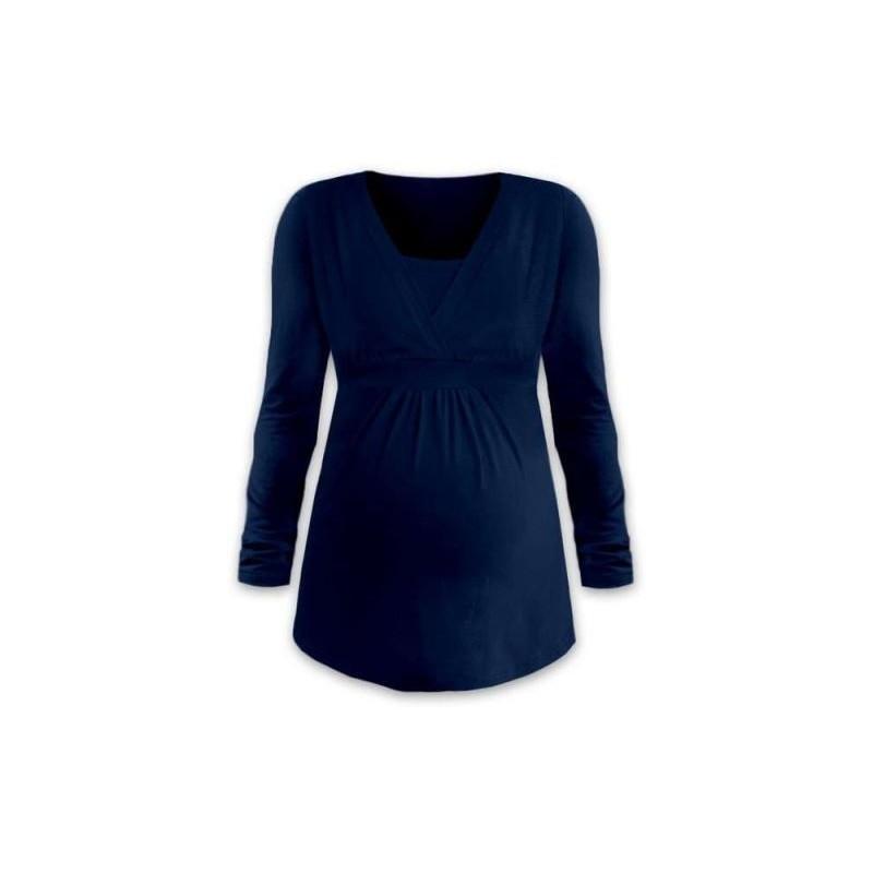 Anička - tričko na dojčenie, dlhé rukávy, tmavo modrá jeans