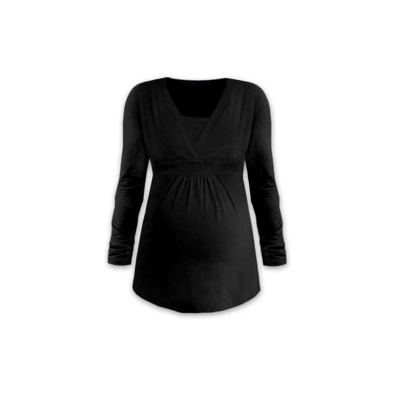 Anička - tričko na dojčenie, dlhé rukávy, čierna