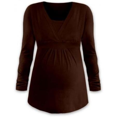 Anička - tričko na dojčenie, dlhé rukávy, čokoládová hnedá