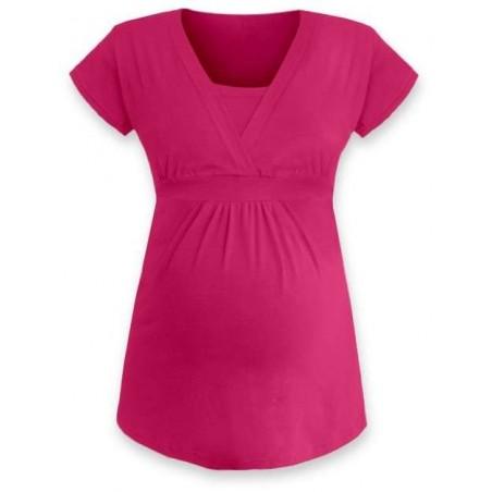 Anička - tričko na dojčenie, krátke rukávy, tmavo ružová