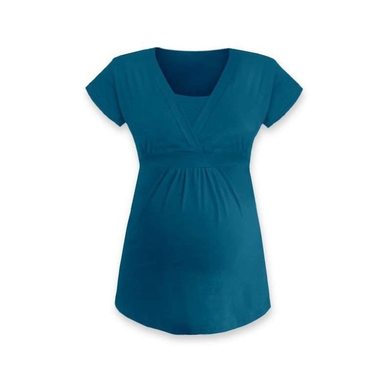 Anička - tričko na dojčenie, krátke rukávy, petrolejová