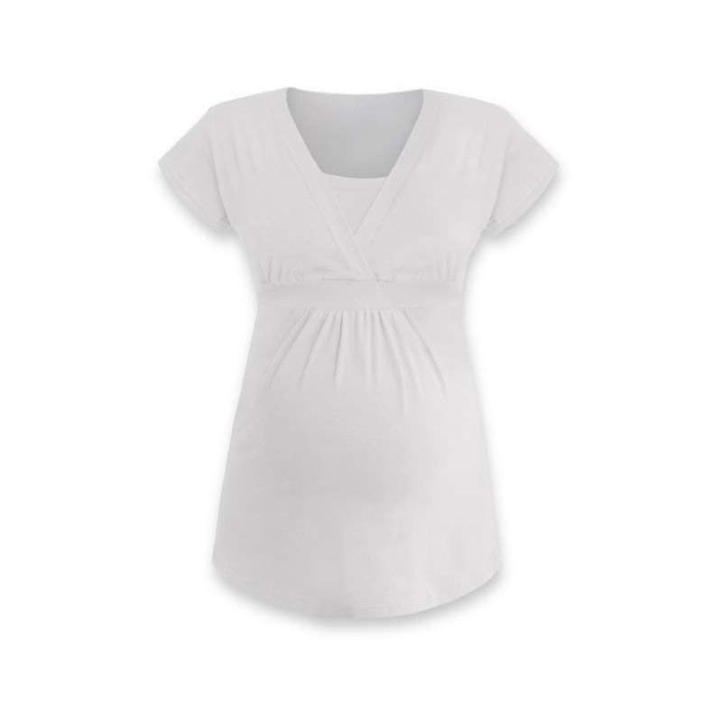 Anička - tričko na dojčenie, krátke rukávy, smotanová